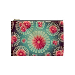 Background Floral Flower Texture Cosmetic Bag (medium)  by Nexatart