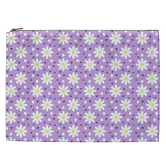 Daisy Dots Lilac Cosmetic Bag (xxl)  by snowwhitegirl