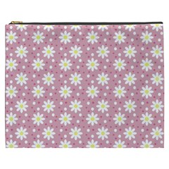 Daisy Dots Pink Cosmetic Bag (xxxl)  by snowwhitegirl