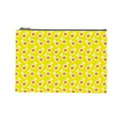 Square Flowers Yellow Cosmetic Bag (large)  by snowwhitegirl