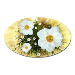 Summer Anemone Sylvestris Oval Magnet by Nexatart