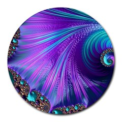 Abstract Fractal Fractal Structures Round Mousepads by Nexatart