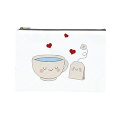 Cute Tea Cosmetic Bag (large)  by Valentinaart