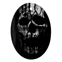 Black And Grey Nightmare Oval Ornament (two Sides) by vwdigitalpainting