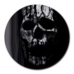 Black And Grey Nightmare Round Mousepads by vwdigitalpainting
