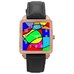 Abstract Curves Rose Gold Leather Watch  by vwdigitalpainting