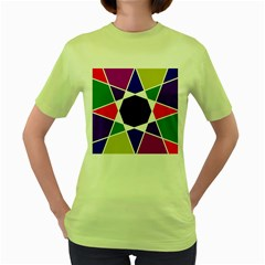 Compass Abstract Women s Green T Shirt by vwdigitalpainting
