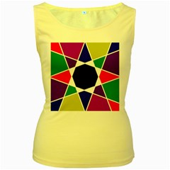 Compass Abstract Women s Yellow Tank Top by vwdigitalpainting