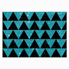 Triangle2 Black Marble & Turquoise Glittertriangle2 Black Marble & Turquoise Glitter Large Glasses Cloth (2 Side) by trendistuff