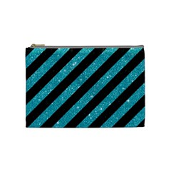 Stripes3 Black Marble & Turquoise Glitter (r) Cosmetic Bag (medium)  by trendistuff