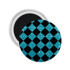 Square2 Black Marble & Turquoise Glitter 2 25  Magnets by trendistuff