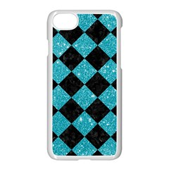 Square2 Black Marble & Turquoise Glitter Apple Iphone 7 Seamless Case (white) by trendistuff