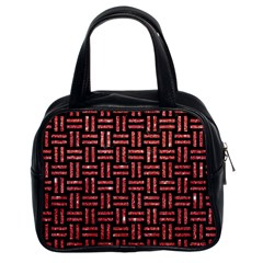 Woven1 Black Marble & Red Glitter (r) Classic Handbags (2 Sides) by trendistuff