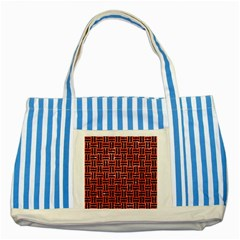Woven1 Black Marble & Red Glitter Striped Blue Tote Bag