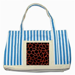 Skin1 Black Marble & Red Glitter Striped Blue Tote Bag