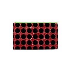 Circles1 Black Marble & Red Glitter Cosmetic Bag (xs) by trendistuff