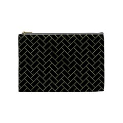 Brick2 Black Marble & Khaki Fabric (r) Cosmetic Bag (medium)  by trendistuff