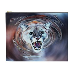 Cougar Animal Art Swirl Decorative Cosmetic Bag (xl) by Nexatart