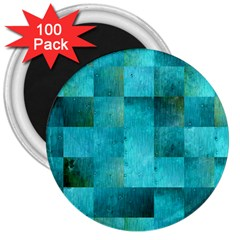 Background Squares Blue Green 3  Magnets (100 Pack)