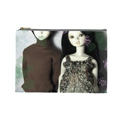 Dolls In The Grass Cosmetic Bag (large)  by snowwhitegirl