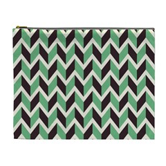 Zigzag Chevron Pattern Green Black Cosmetic Bag (xl) by snowwhitegirl