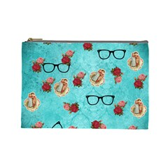 Vintage Glasses Blue Cosmetic Bag (large)  by snowwhitegirl