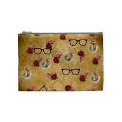 Vintage Glasses Beige Cosmetic Bag (medium)  by snowwhitegirl