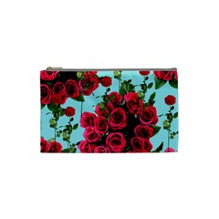 Roses Blue Cosmetic Bag (small)  by snowwhitegirl