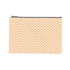 Orange Chevron Cosmetic Bag (large)  by snowwhitegirl