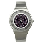 Futuristic Geometric Pattern Stainless Steel Watch