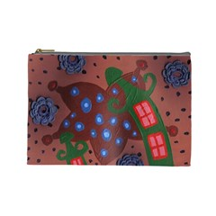 Slanted Green Houses Cosmetic Bag (large)  by snowwhitegirl