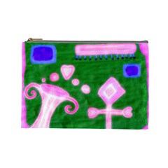 Hearts For The Pink Cross Cosmetic Bag (large)  by snowwhitegirl