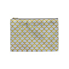 Scales1 White Marble & Yellow Marble (r) Cosmetic Bag (medium)  by trendistuff