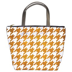 Houndstooth1 White Marble & Yellow Grunge Bucket Bags by trendistuff