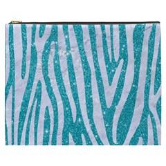 Skin4 White Marble & Turquoise Glitter (r) Cosmetic Bag (xxxl)  by trendistuff