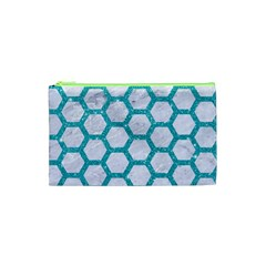 Hexagon2 White Marble & Turquoise Glitter (r) Cosmetic Bag (xs) by trendistuff