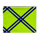 Stripes Angular Diagonal Lime Green Cosmetic Bag (XL) Front