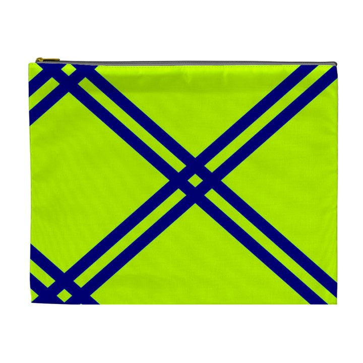 Stripes Angular Diagonal Lime Green Cosmetic Bag (XL)