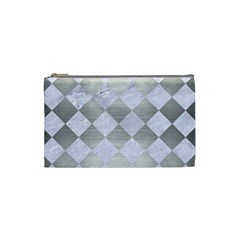 Square2 White Marble & Silver Brushed Metal Cosmetic Bag (small)  by trendistuff