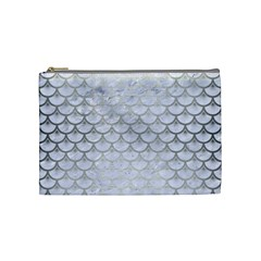 Scales3 White Marble & Silver Brushed Metal (r) Cosmetic Bag (medium)  by trendistuff