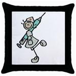 nurse stick Throw Pillow Case (Black)