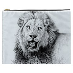Lion Wildlife Art And Illustration Pencil Cosmetic Bag (xxxl)  by Samandel