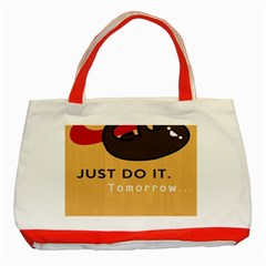 Sloth Just Do It Tomorrow Classic Tote Bag (red)