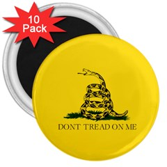 Gadsden Flag Don t Tread On Me 3  Magnets (10 Pack)  by snek