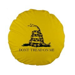 Gadsden Flag Don t Tread On Me Standard 15  Premium Flano Round Cushions by snek