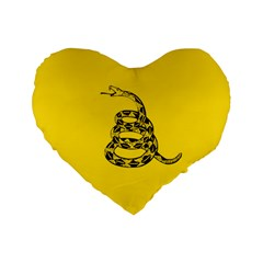 Gadsden Flag Don t Tread On Me Standard 16  Premium Flano Heart Shape Cushions by snek