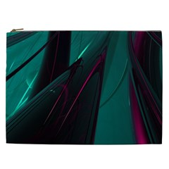 Abstract Green Purple Cosmetic Bag (xxl)  by Sapixe