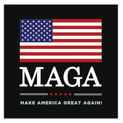 Maga Make America Great Again With Us Flag On Black Large Satin Scarf (square) by snek