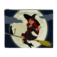 Witch Witchcraft Broomstick Broom Cosmetic Bag (xl) by Nexatart