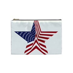 A Star With An American Flag Pattern Cosmetic Bag (medium)